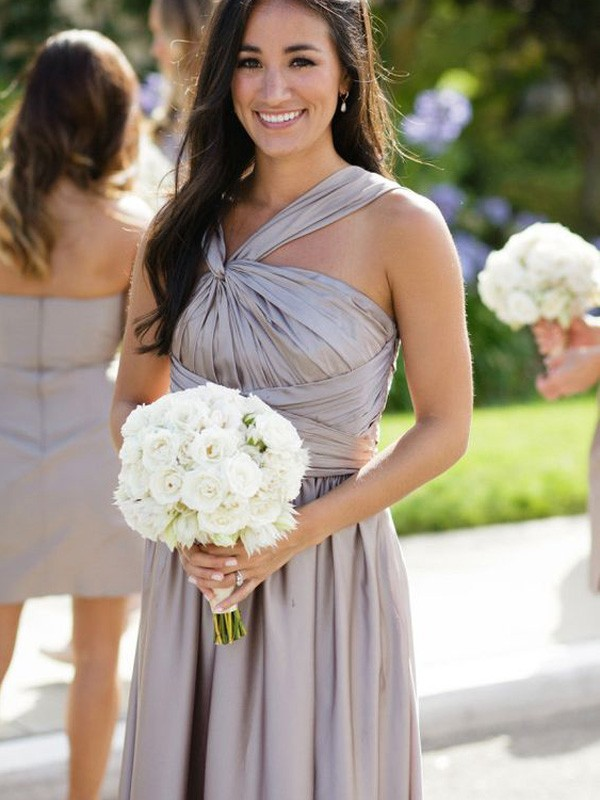 Grey Satin A-Line/Princess Floor-Length Bridesmaid Dresses
