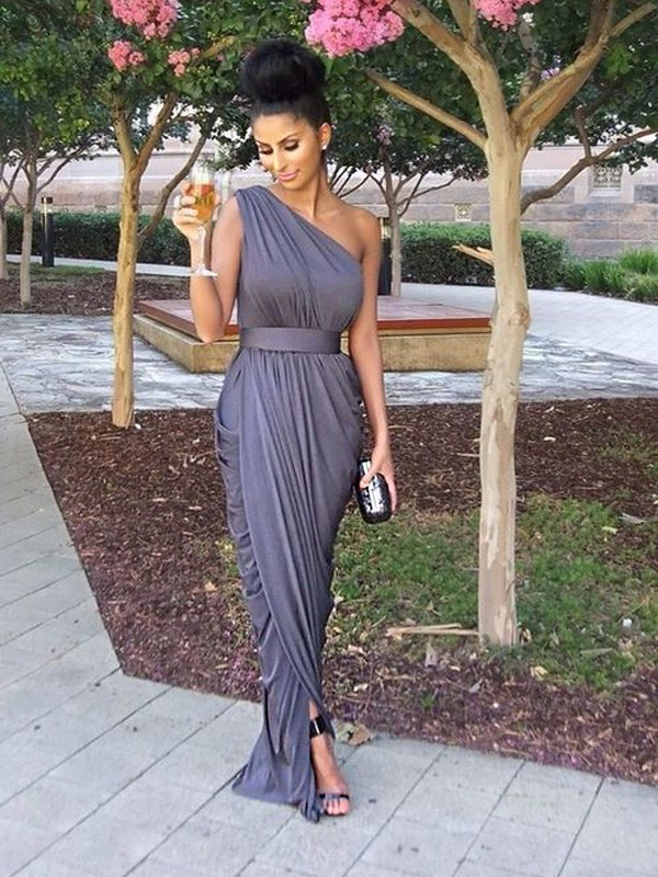 Grey Jersey One-Shoulder Sheath/Column Floor-Length Bridesmaid Dresses