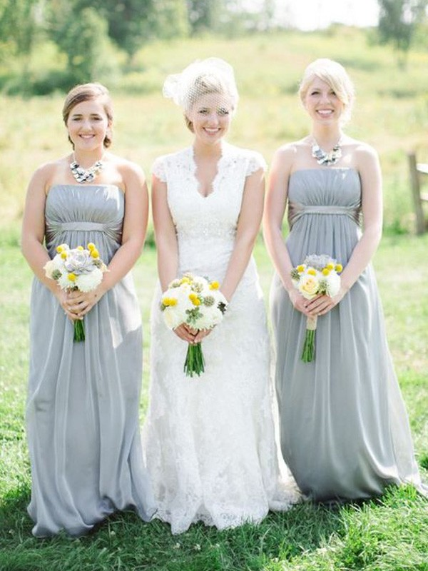 Grey Chiffon Strapless A-Line/Princess Floor-Length Bridesmaid Dresses