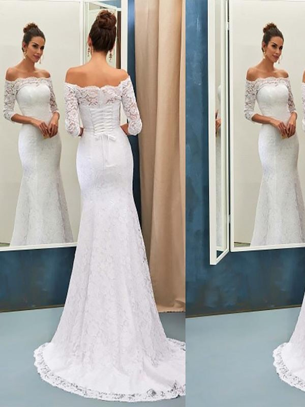 Ivory Lace Off-the-Shoulder Trumpet/Mermaid Sweep/Brush Train Wedding Dresses